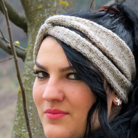 Knitted Turband Headband Twist knit tan spotted. Ear Warmer. Stretchy Workout Hair Band. Hair Bands Hair Coverings for Women
