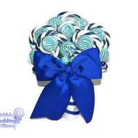 Royal Blue Wedding Bouquet, Royal Blue, Bridal, Wedding, Bouquet, Lollipop Bouquet, Candy Bouquet, Something Blue, Blue Lollipop Bouquet