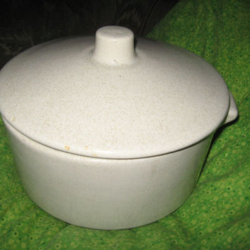 antique stoneware salt glaze lidded crock bean pot casserole