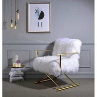 ACME Bagley Accent Chair in Wool and Gold Brass