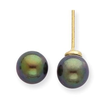 14k 7-8 mm Black Akoya Cultured Pearl Stud Earrings