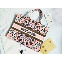 Christian Dior New Fashionable Women Retro Print Personality Shopping Bag Canvas Tote Handbag Shoulder Bag