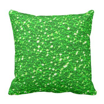 Pretty Lime Green Sparkly Faux Glitter Look Throw Pillow