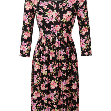 LE3NO Womens Stretchy 3/4 Sleeve Floral Print Flared Midi Dress