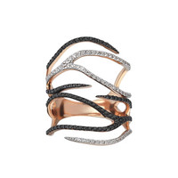 Kismet by Milka Zebra Black & White Diamond Ring in 14K Rose Gold, Size 7