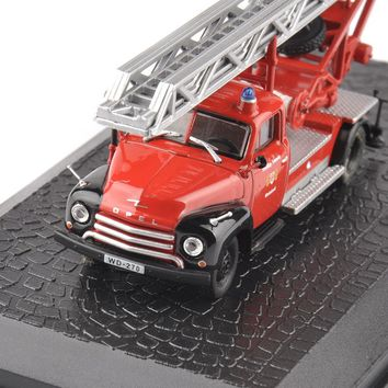 New Style 1/72 Scale Red Diecast Car Model Toys Opel Blitz Fire Truck Model Kids Toys Gifts Collections