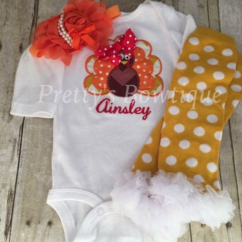 Thanksgiving Outfit Baby Girl - Turkey Embroidered Bodysuit, Headband & Pilka Dot Legwarmers Set Personalized with Name