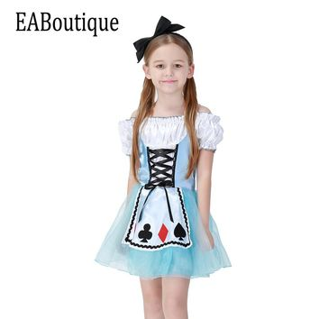 EABoutique 2017 New high quanlity Alice's Adventures in Wonderland poker printed with headband halloween costumes for kids girls
