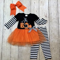 "RTS Girls Halloween ""BOO!!"" Tutu 2pc D83"