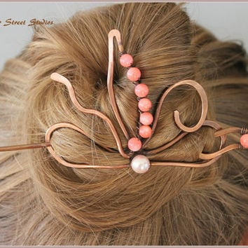 "Hair Clip 3 1/4"", Hair Pin Copper Hair Slide Pink Coral Beads Flower Copper Wire Bun Holder Hair Bun Wrap Hair Accessory Wire Wrapped"