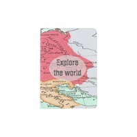 Vintage map of Europe in Coral and Mint with Text Passport Holder