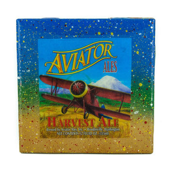 Aviator Harvest Ale - Handmade Recycled Tile Coaster