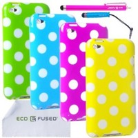 Eco-Fused Case Bundle for Apple iPod Touch 4 including 4 Polka Dot Covers / 2 Stylus Pens / 2 Screen Protectors / Microfiber Cleaning Cloth (Green, Blue, Purple, Yellow)