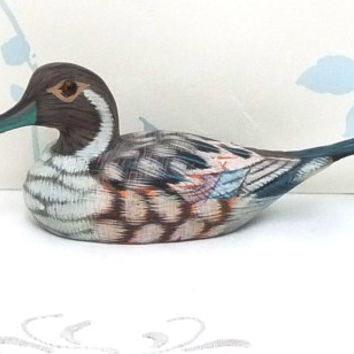 Duck Figurine, Miniature, Duck Decoy, Water Fowl, Brown, Grey, Hand Crafted, Ornament, niknak, hand painted, Folk Art, Rustic