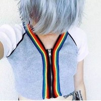 UNIF V-neck Patchwork Crop Top Zippers Knit Tops Short Sleeve Jacket