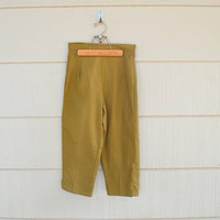 Vintage Capri Pants, Pacific Play Togs of California, Ribbed Cotton Fabric, Size 14, NOS, Peanut Brown Capris, 1960s