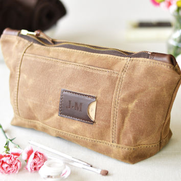 NO. 317 Personalized Toiletry Bag, Brown Waxed Canvas