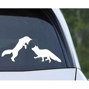 Foxes Playing Silhouette Die Cut Vinyl Decal Sticker