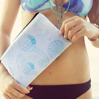 Tribal Seahorse and Shell Clutch and Cosmetic Bag