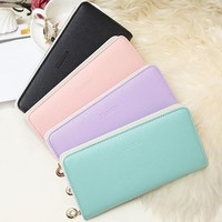 Cute Pastel Zipper Bifold Wallet -4 Color Options-