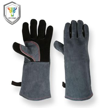 OZERO Work Cowhide Gloves Leather Best of Barbecue Grill Hearth Leather For Oven Kitchen Working Cotton With Long Sleeve 1102