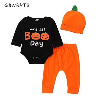 GRNSHTS Cute Newborn Baby Boys Girls Clothes Black Letter Bodysuit+Pants+Hat Infant 3pcs Suit Baby Clothing My First Halloween