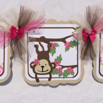 Monkey baby shower / it's a girl banner, pink, tan and brown