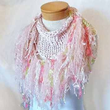 Pink white  knit scarf Cotton triangle shawl Long fringe  stole Pink green fringe scarf Boho accessory
