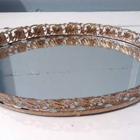 Sale, Mirror Tray, Mirror, Vanity Mirror, Vintage, Gold, Oval, Filigree