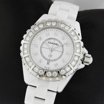Chanel J12 Quartz 33mm H2429 White Ceramic Diamond Brand NEW Ret: $16,500