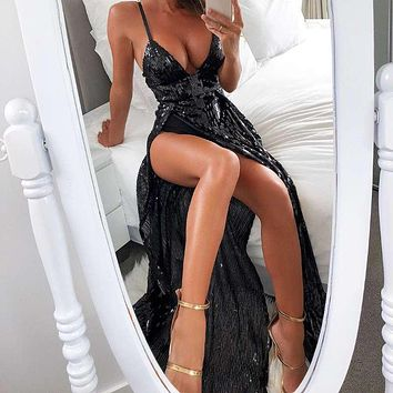 Fashion sequined dress with high open sling and deep V sexy and evening dress