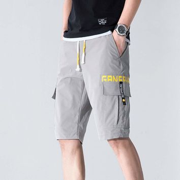 Mens Drawstring Cargo Shorts