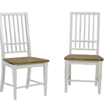 Shutters Transitional Dining Chair (Set Of 2) Light Oak/ Distressed White