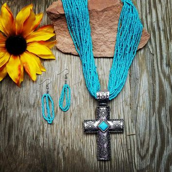 Turquoise Beaded Aztec Cross Necklace