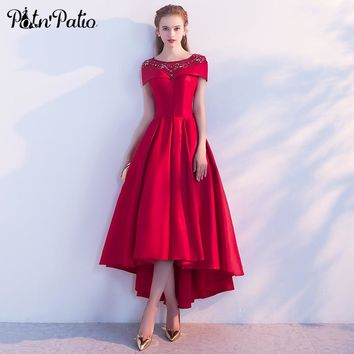 PotN'Patio Simple Wine Red Satin High Low Prom Dresses 2018 New Elegant O-neck Off The Shoulder Long Prom Dresses