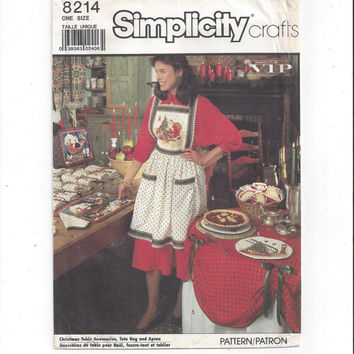 Simplicity 8214 Pattern for Christmas Apron, Table Accessories, Tote Bag, 1987, FACTORY FOLDED, UNCUT, Simplicity Crafts, Vintage Pattern