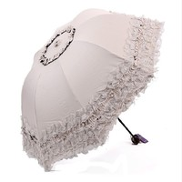 Heart Princess Lace Windproof Folding Sunny and Rainy Umbrella Ultraviolet-Proof Anti Sun UV Protection Parasol Umbrella