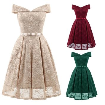 Women Vintage Princess Floral Lace Cocktail Off Shoulder Party Aline Swing Dress