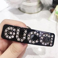 "Hot Sale ""Gucci"" Fashionable Girls Women Delicate Letter Diamond Hairpin Spring Clip Accessories Black"