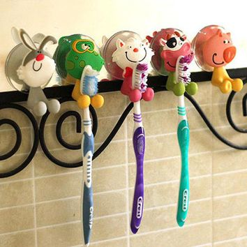 DCCKL72 Hot sale Cute Cartoon suction cup toothbrush holder hooks bathroom set accessories Eco-Friendly household items