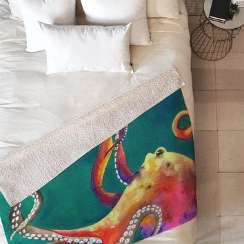 Clara Nilles Mardi Gras Octopus Fleece Throw Blanket