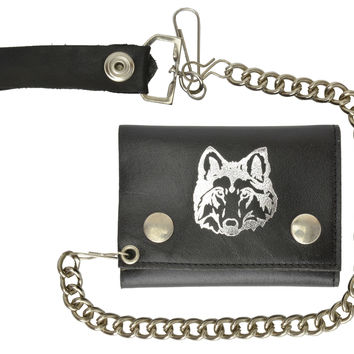 Biker Chain Trifold Genuine Leather Wallet Wolf Imprint 946-23 (C)