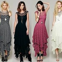 Women Sexy Sheer Lace Party Casual Evening Cocktail Slim Long Vintage Lace Dress