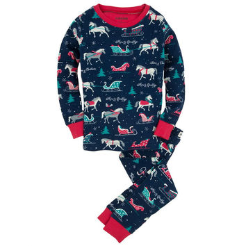 Sledding Horses Youth Pajama Set