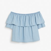 Monki | View all new | Denim off-shoulder ruffle top