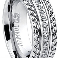 Men's Titanium Wedding Band, Engagement Eternity ring, Chevron design, Cubic Zirconia CZ Ring | FREE ENGRAVING