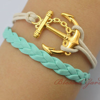 anchor bracelet,mint bracelet ,mint leather bracelet,gold anchor,navy bracelet,friendship bracelet,blessed garden