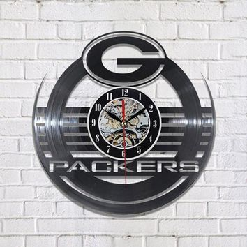 Antique Hollow Style Round CD Record Clock NFL GREEN BAY PACKERS Vinyl Wall Clock Creative Personalised Wall Clock