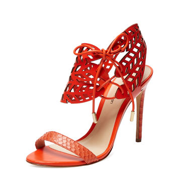 Python Perforated Ankle Wrap Sandals