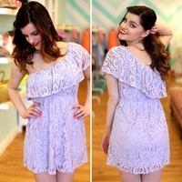 Lilac Lace Shoulder Dress